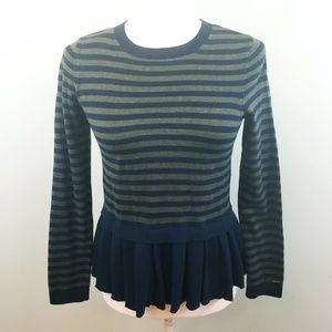 Tommy Hilfiger striped peplum sweater navy green